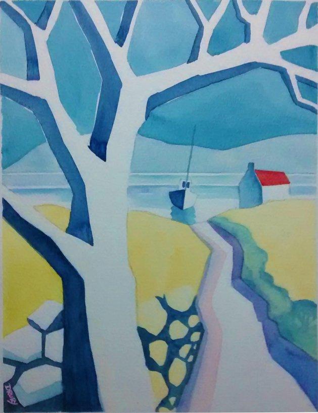 Near the Lake. Original art by Randle Drury