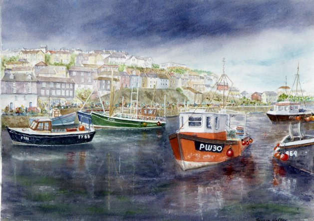 Approaching Storm (Mevagissy Cornwall). Original art by Patricia Waller