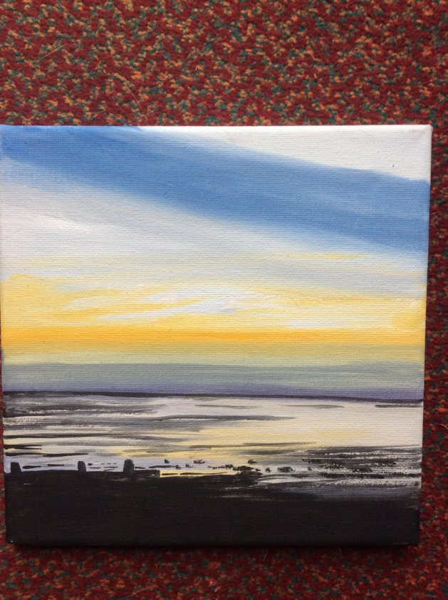 Sunset over Tankerton bay. Original art by Judy Johnstone