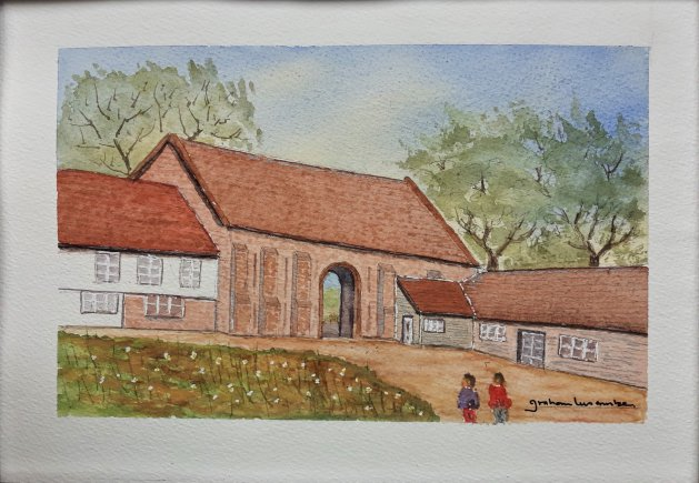 Sissinghurst. Elizabethan Barn. Original art by Graham Luscombe