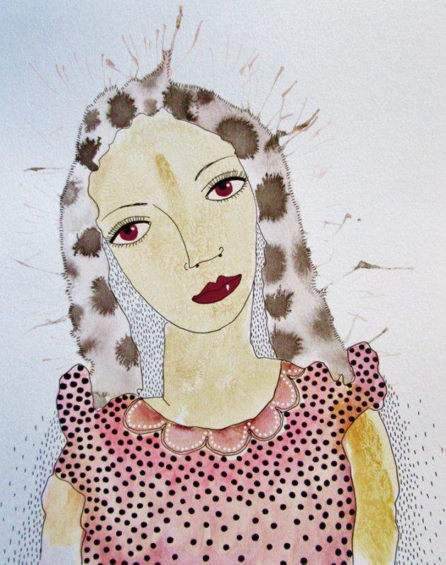 Pink Dress. Original art by Beatrice Margaret