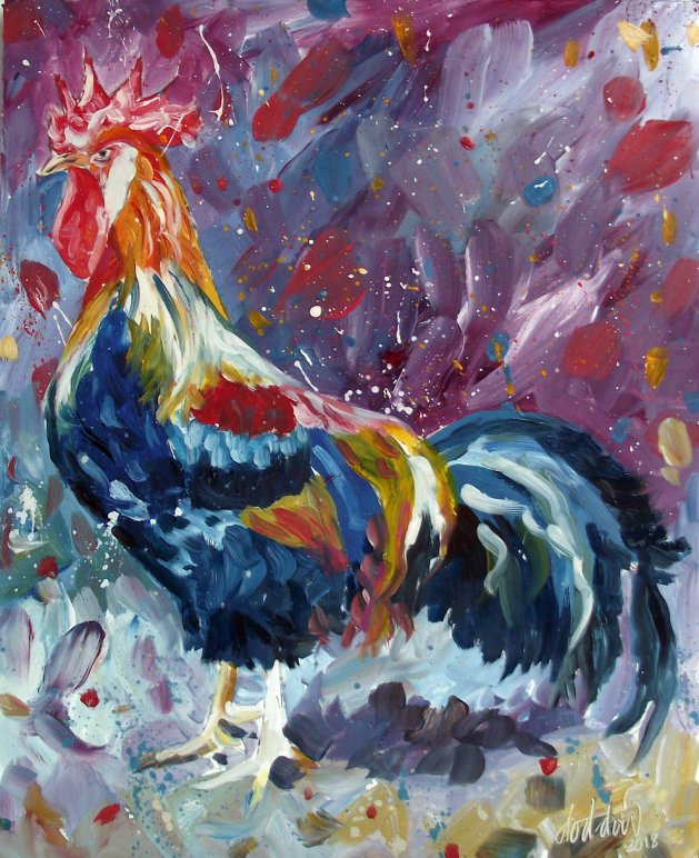 Rooster Painting. Original art by George Dow