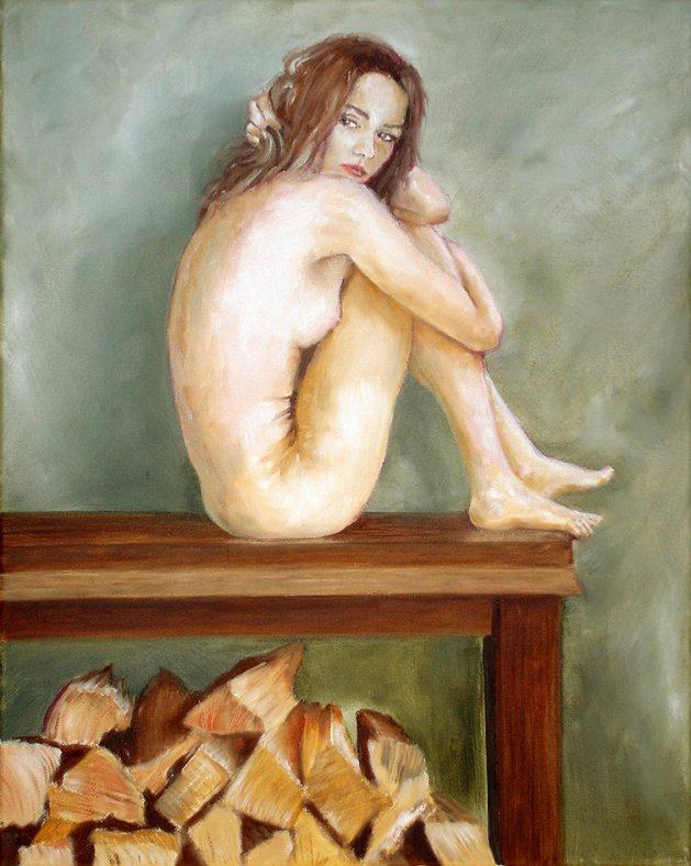 Woman and chopped wood. Original art by David Snook