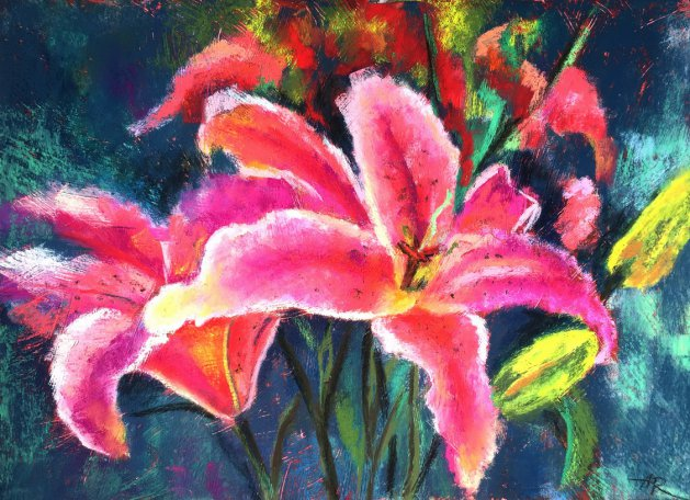 Pink Lilies. Original art by Alena Rumak