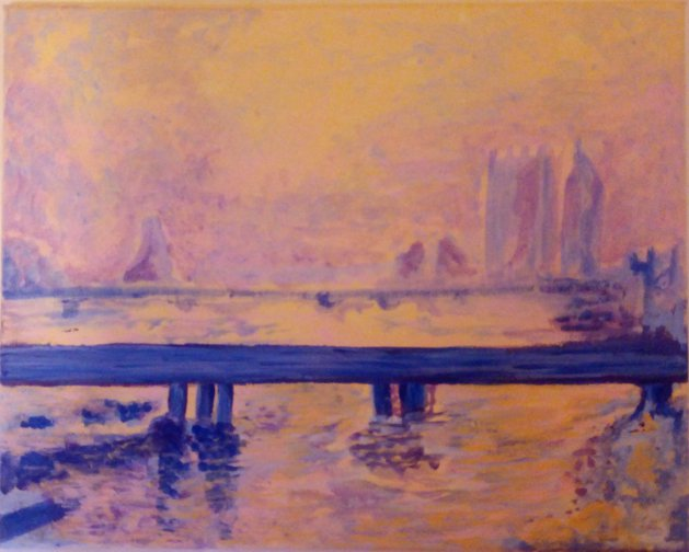 Misty Thames. Original art by Patricia Clarke