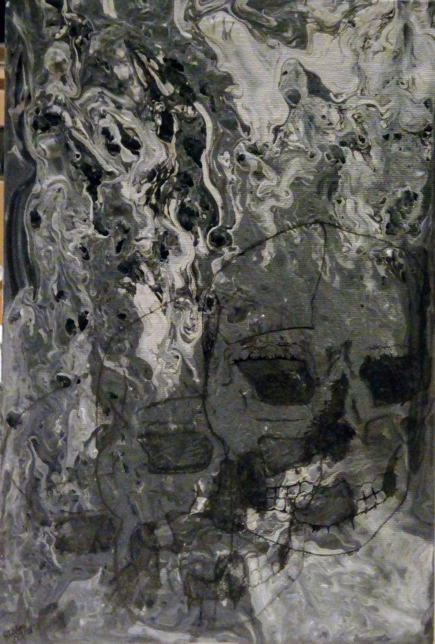 3 Skulls. Original art by Patricia Clarke