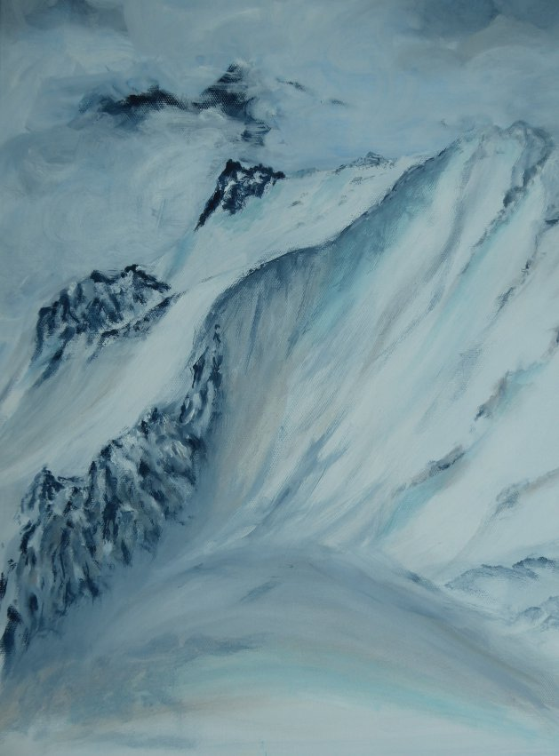 Alps in the Clouds. Original art by Mair Oliver