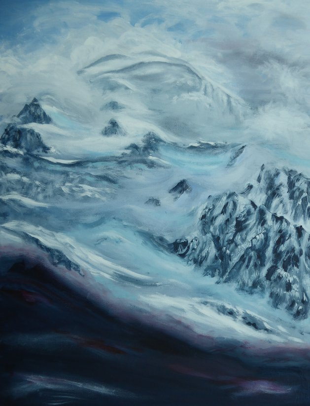 Mont Blanc from Chamonix. Original art by Mair Oliver