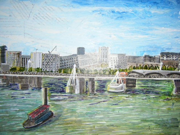 London from the Eye. Original art by Nikki Griffith