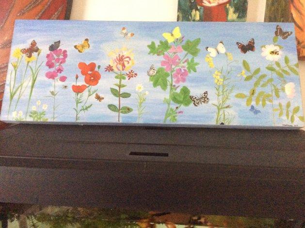 Wild flowers and butterflies. Original art by Judy Johnstone