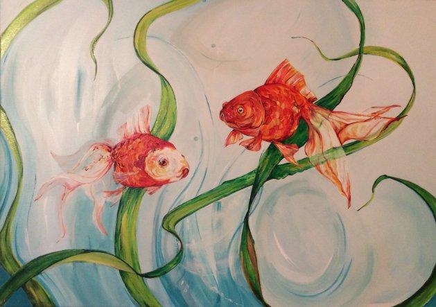 Fantails. Original art by Maria Hyatt