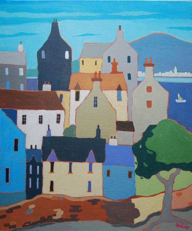 Coastal Town #2. Original art by Randle Drury