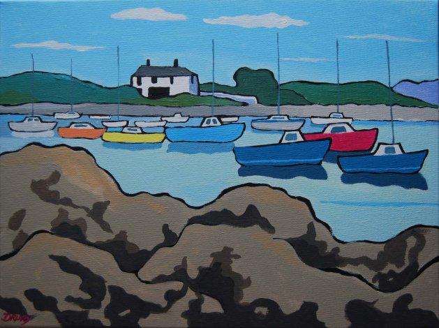 Groomsport Harbour, Co.Down.. Original art by Randle Drury