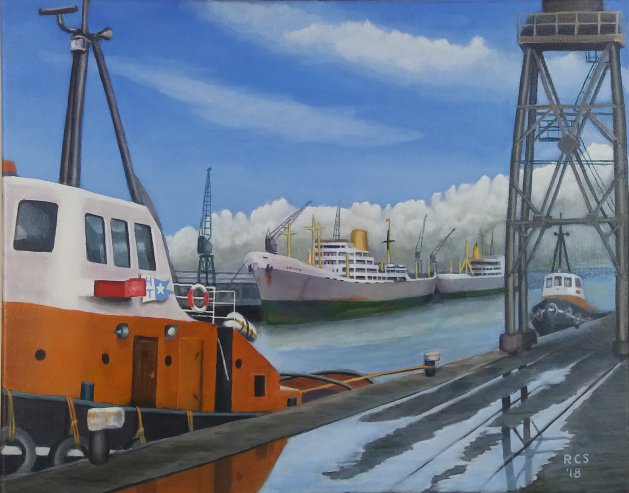 Hull Docks. Original art by Richard Summerfield