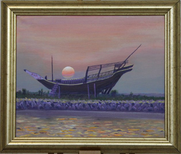 Dhow at sunset. Original art by Richard Summerfield
