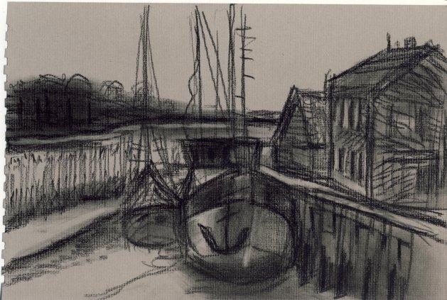 Lock in Orford. Original art by M. A. Pioro
