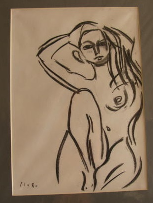 Nude with Raised Arms. Original art by M. A. Pioro