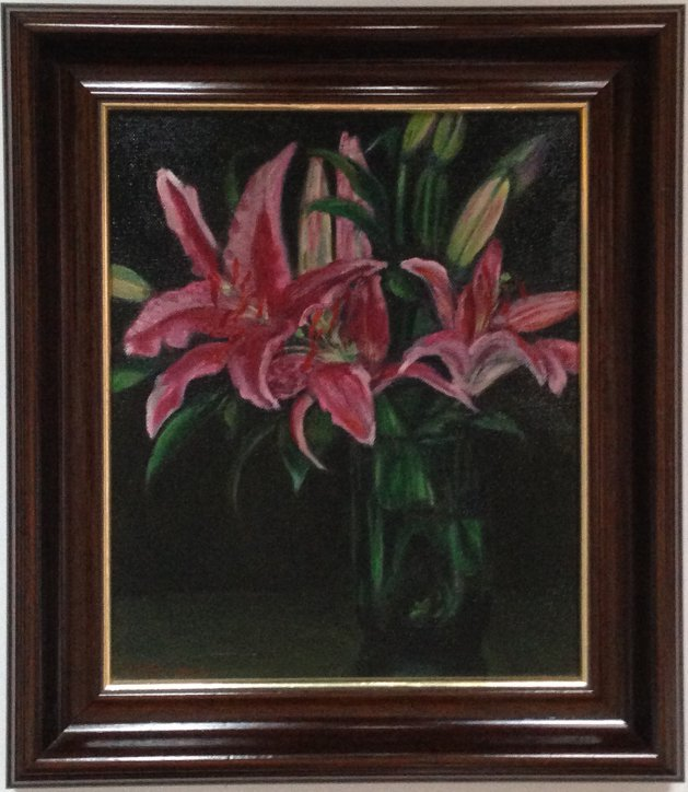 Lilies in a Green Vase. Original art by M. A. Pioro
