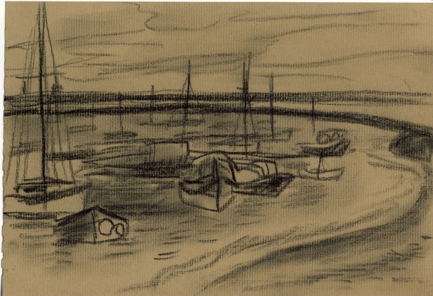 Orford Estuary with Boats. Original art by M. A. Pioro