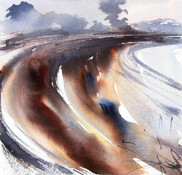 Ploughed Winter Field. Original art by Adrian Homersham