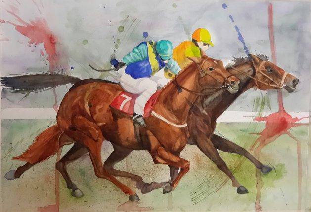 The races. Original art by Denny Aitch
