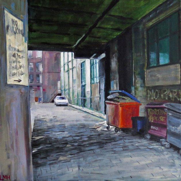 Cobbled Sidestreet. Original art by Lynn Marie Hall