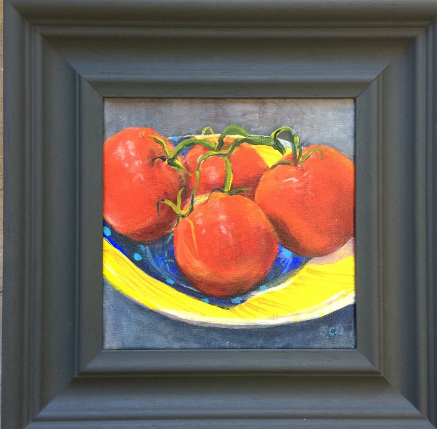 Tomatoes on Pottery Plate. Original art by Sarah Nesbitt
