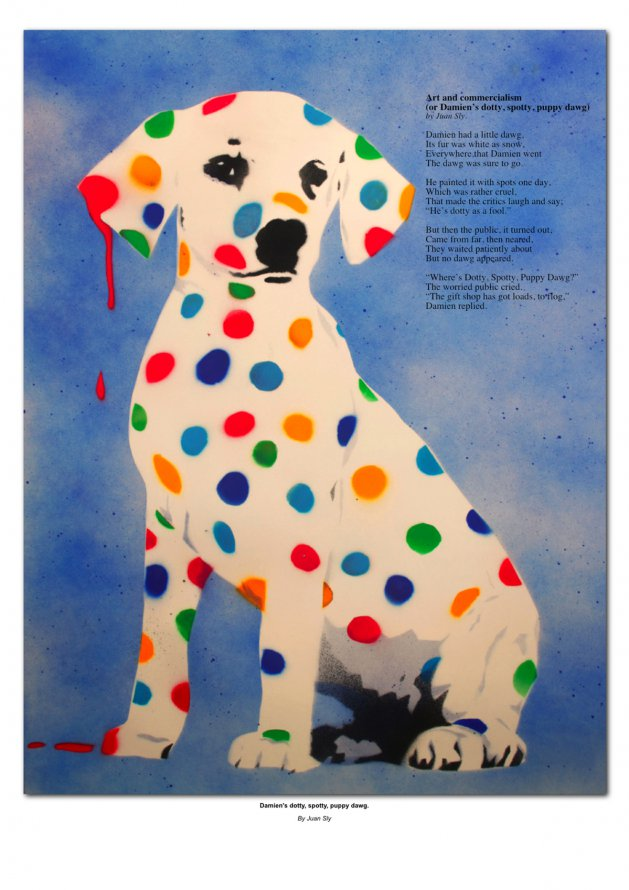Damien\'s Dotty, Spotty, Puppy Dawg A1 Signed and numbered poster. Original art by Juan Sly