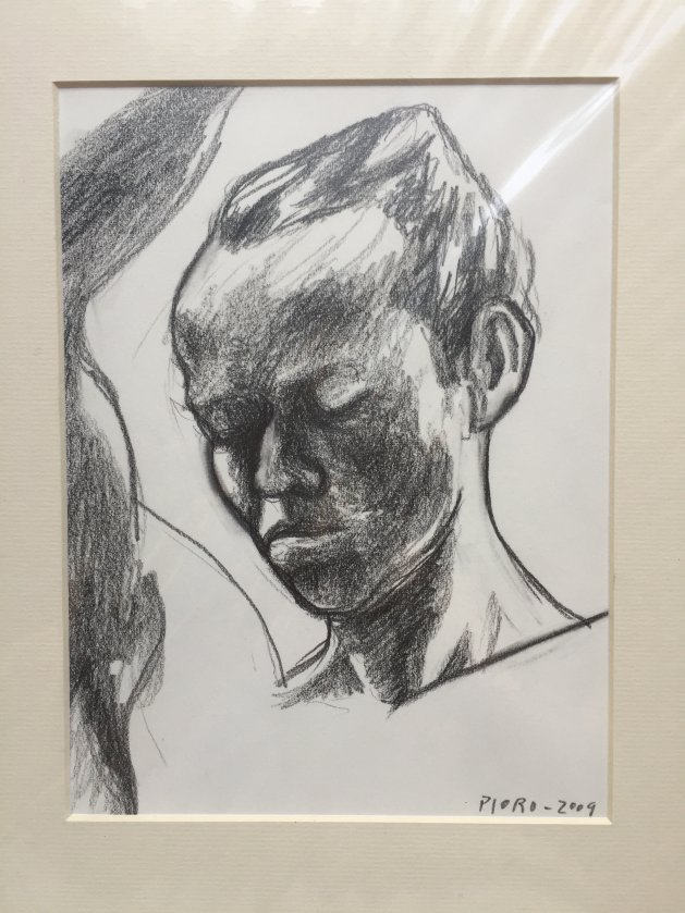 Study of a Man's Head with Raised Arm. Original art by M. A. Pioro