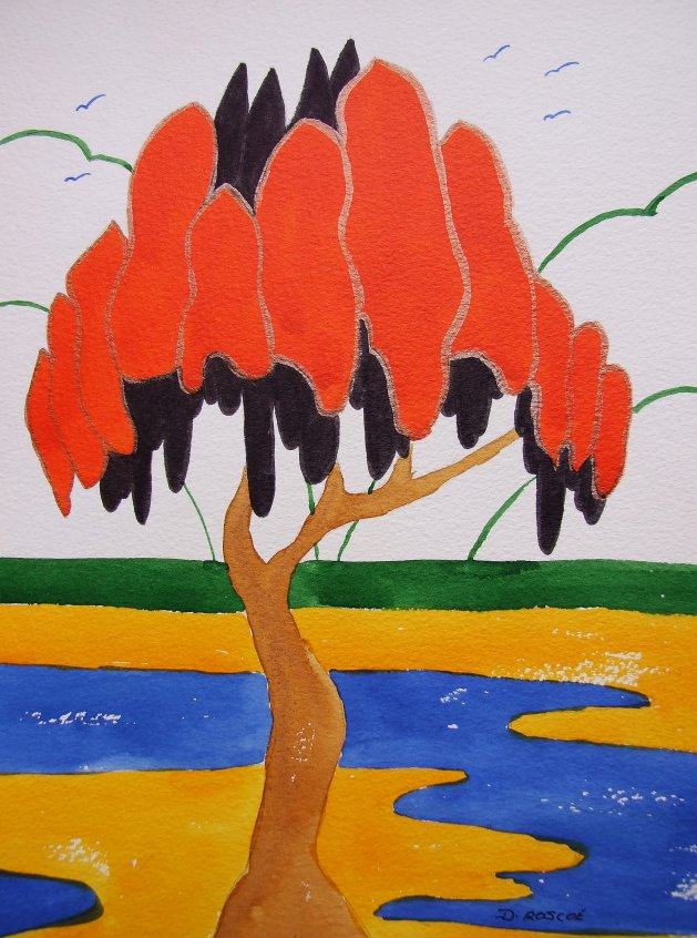 Abstract tree Clarice Cliff style. Original art by Denise Roscoe