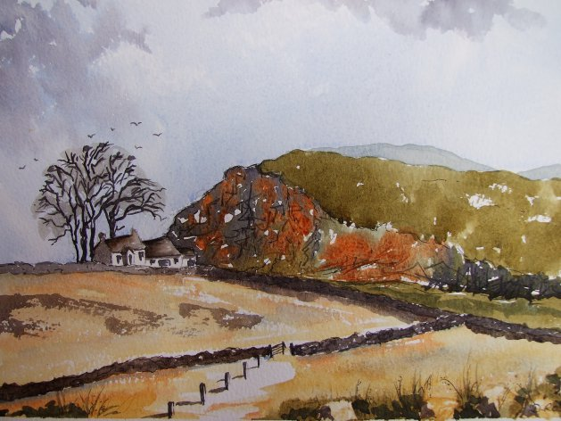Steel Rigg, Northumberland. Original art by Denise Roscoe