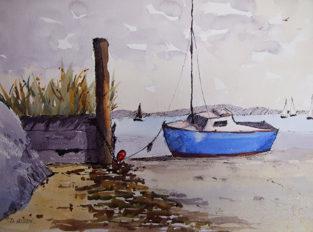 Low tide. Original art by Denise Roscoe