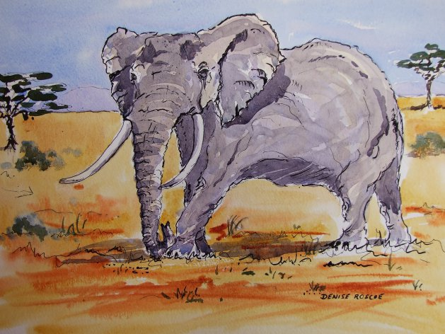 Roaming the savannah. Original art by Denise Roscoe