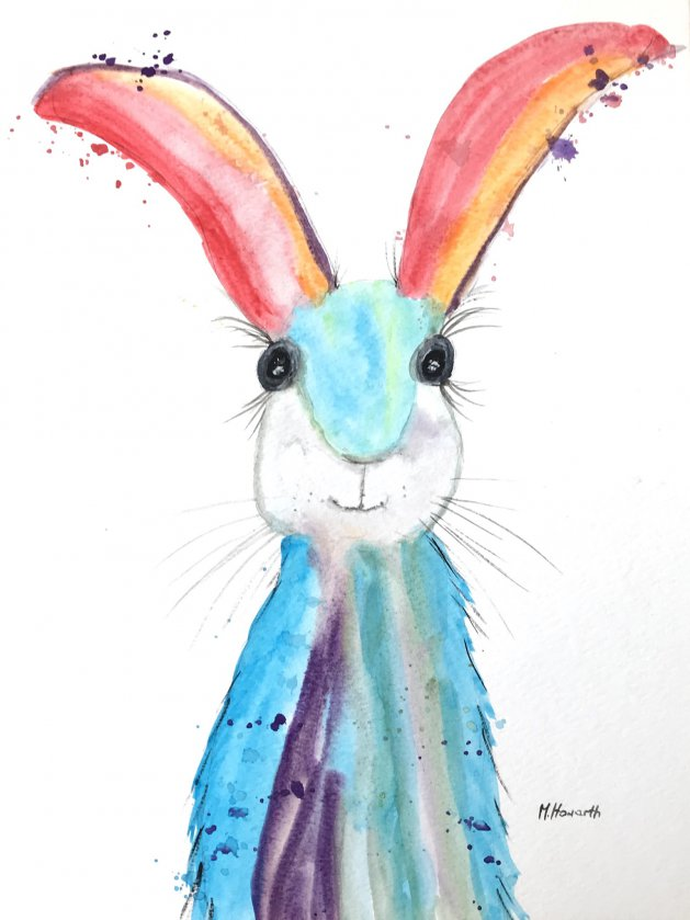 Colourful hare nr 2. Original art by Monika Howarth