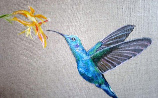 Humming Bird. Original art by Ros Tyrrell