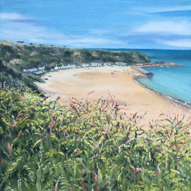 Nefyn Beach. Original art by Mair Oliver