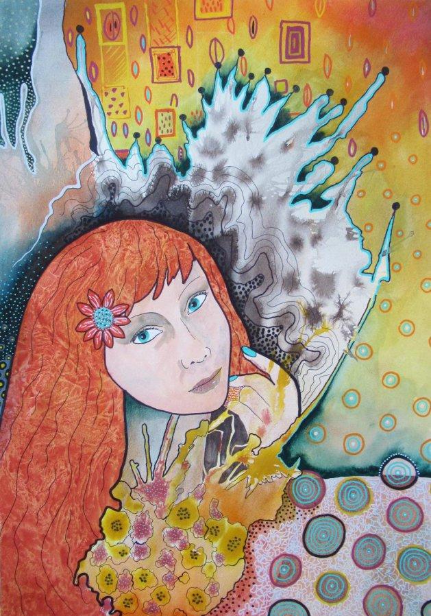 Ginger Hair Girl. Original art by Bea Roberts