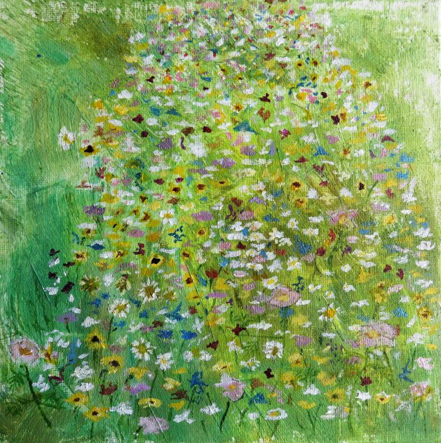 Wild flower meadow, Stubbington Green. Original art by Ros Tyrrell