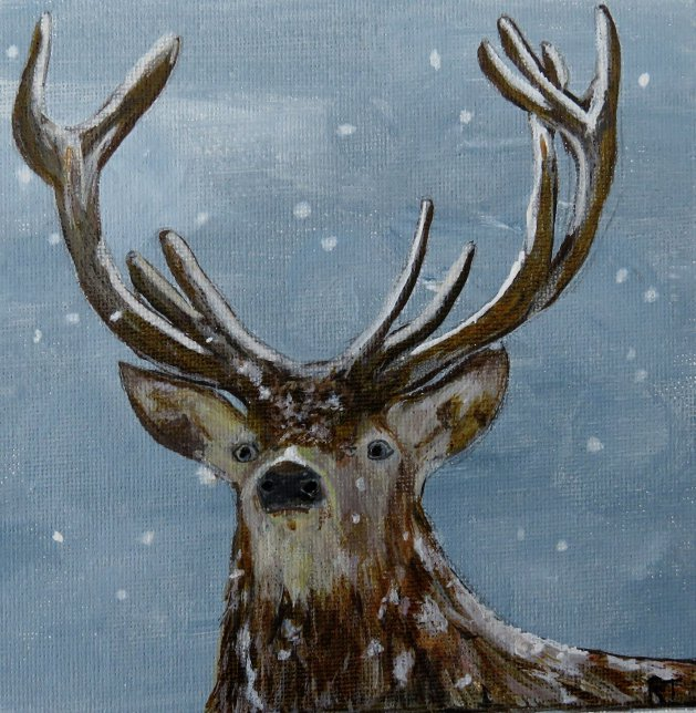 Winter Stag. Original art by Ros Tyrrell
