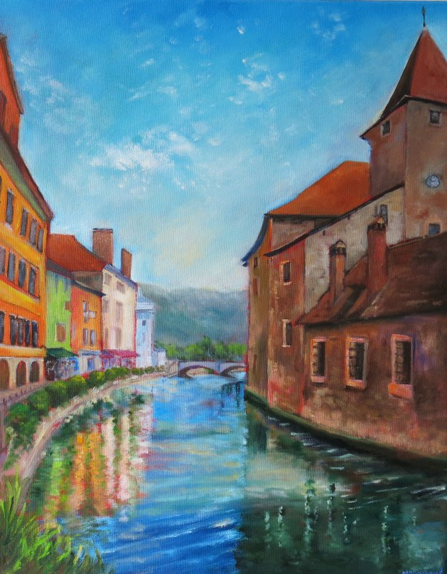Lake Annecy, France. Original art by Maureen Greenwood