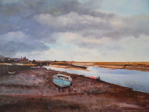 Burnham-Overy-Staithe. Original art by Philip Smith