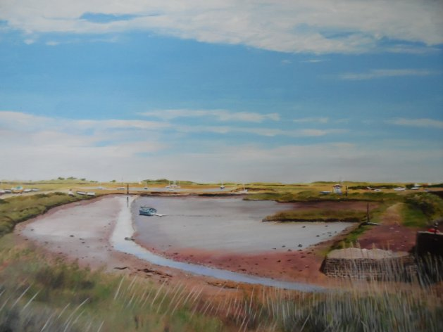 Tide out at Brancaster.. Original art by Philip Smith