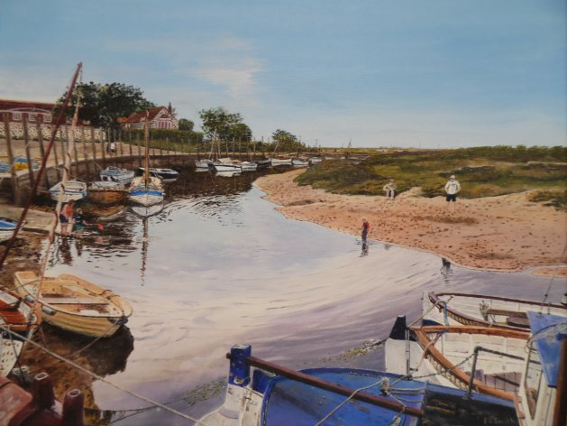 Blakeney harbour.. Original art by Philip Smith