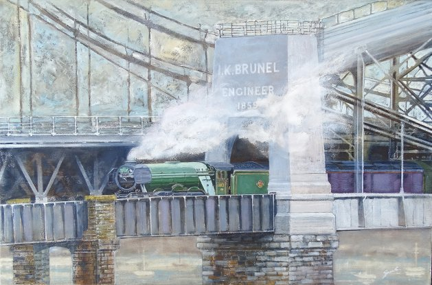Flying Scotsman enters Cornwall. Original art by David Snook