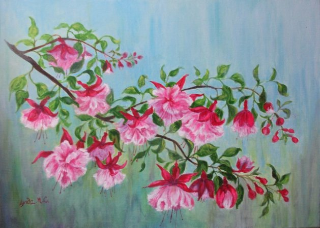DANCING FUCHSIAS. Original art by Lynda Cockshott