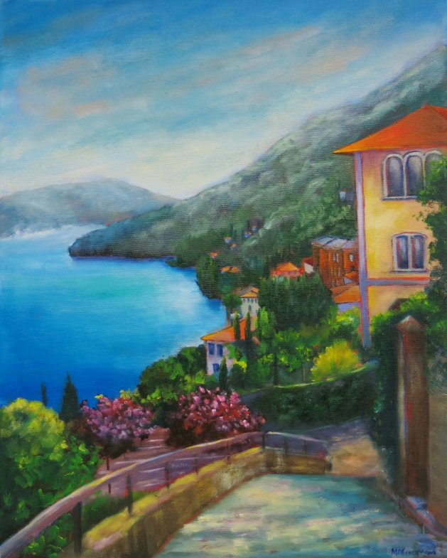 Moltrasio, Italy. Original art by Maureen Greenwood