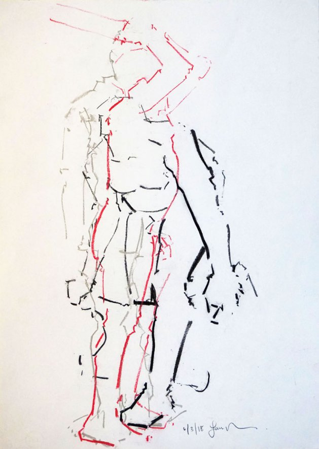 Study of the Male Nude -Life Drawing No 273. Original art by Ian McKay