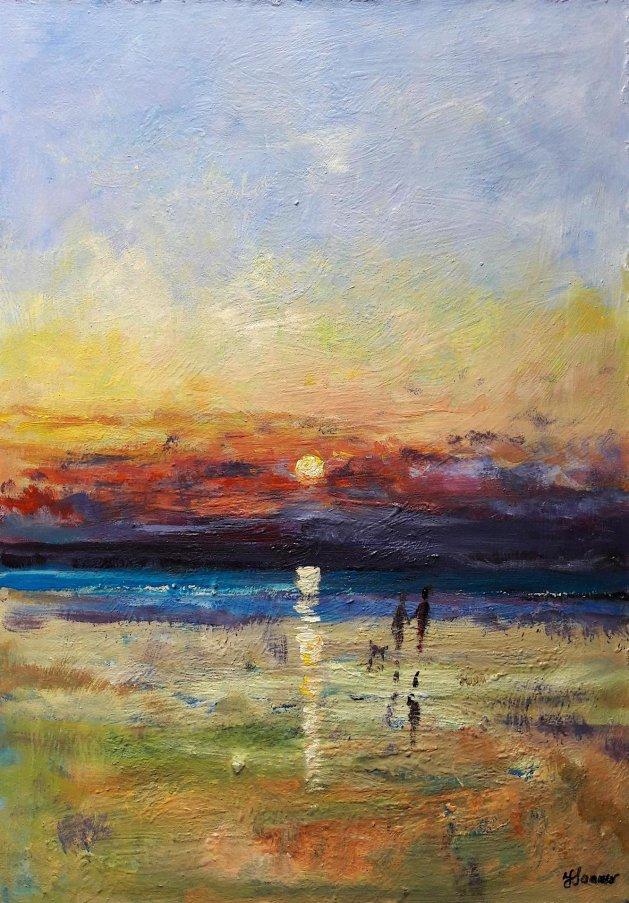 Shoreline stroll, evening. Original art by Teresa Tanner