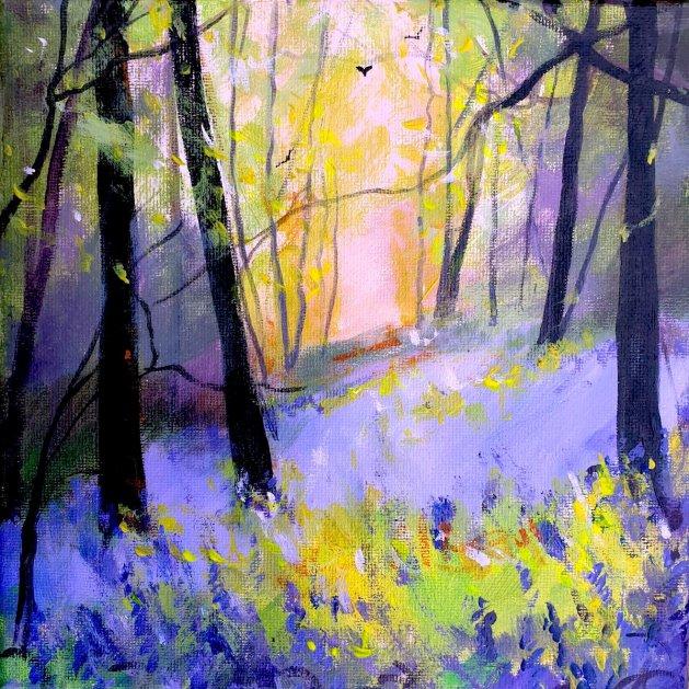 Misty Bluebell Bank. Original art by Teresa Tanner