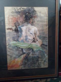 Seated Model. Original art by John Wardle